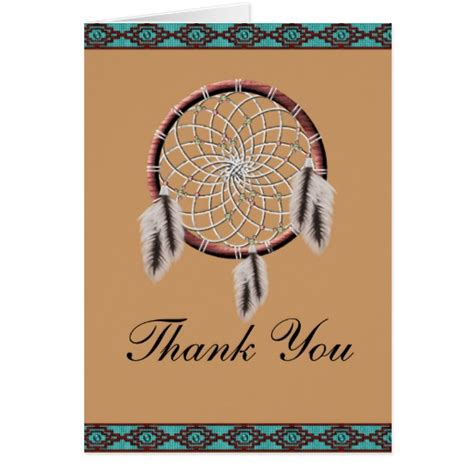 Free Printable Native American Thank You Cards | krw dreamcatcher native american thank you card zazzle