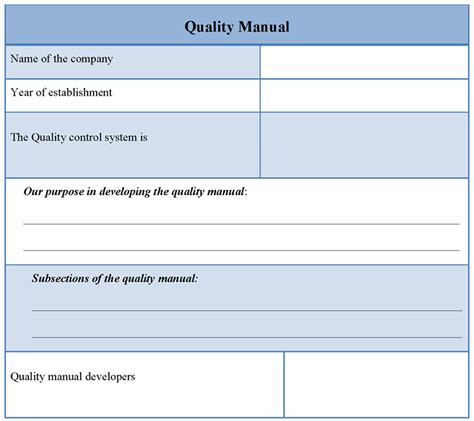 qc template manual template for quality sle of quality manual
