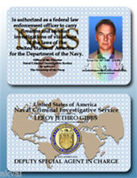 ncis id card template ncis id card ebay