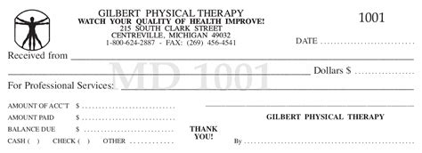 Therapy Receipt Template by Superior Receipt Book Company Printing Services
