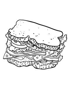 chicken sandwich coloring page coloring pages at coloringcafe com on pinterest coloring