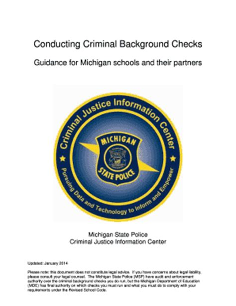 State Of Michigan Background Check Conducting Criminal Background Checks Guidance For Michigan Schools And Their Partners