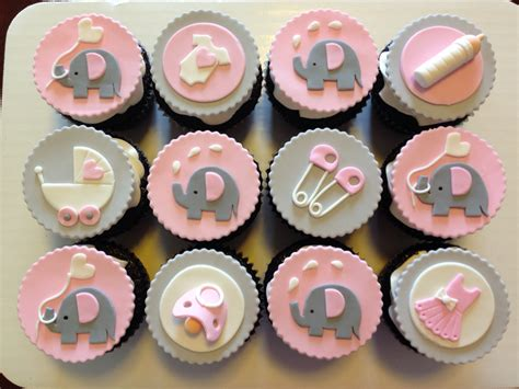 Baby Shower Theme Cupcakes by Pink And Grey Elephant Cupcakes For Baby Shower Custom Cupcakes Elephant