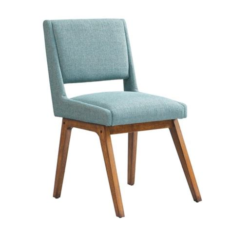 Light Blue Dining Room Chairs Retro Light Blue Fabric Dining Chairs Set Of 2