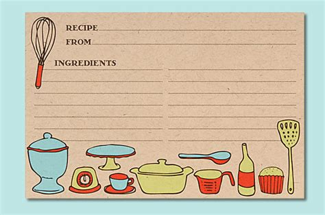 Paper Recipe - six recipe cards to give to the hostess or the cook at