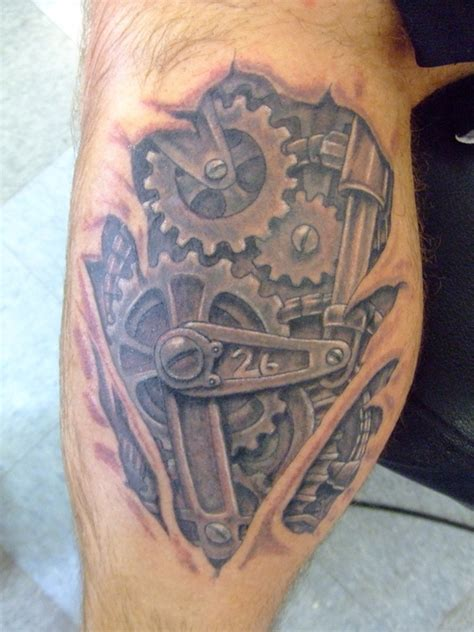 tattoo gears design pin bio mechanical gears on
