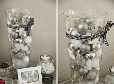 last minute diy christmas centerpiece glass vase white