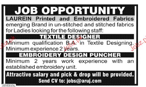 embroidery design jobs textile designers and embroidery design puncher wanted