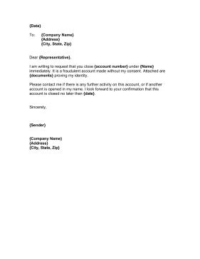 Letter Closing Business Bank Account Unauthorized Account Letter Template