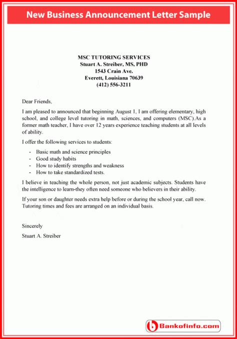 Letter For New Business New Business Announcement Letter Sle Quotes