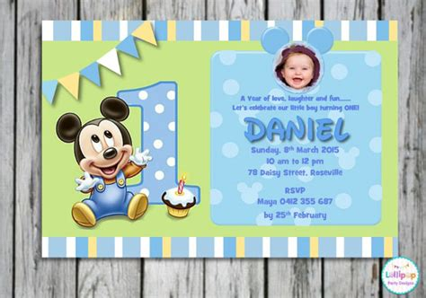 1st birthday card template word 30 mickey mouse invitation template free premium