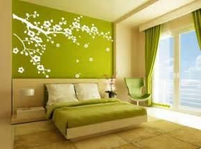 Ordinaire Dessin Mural Chambre Adulte #3: pi%C3%A8ce-chambre-verte-%C3%A0-coucher-sticker-de-mur-arbres-oiseaux.jpg