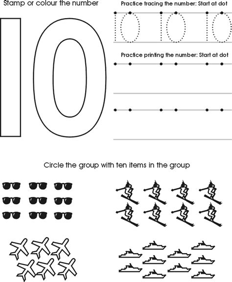 free printable number worksheets for preschoolers numbers to ten tracing worksheets free preschool