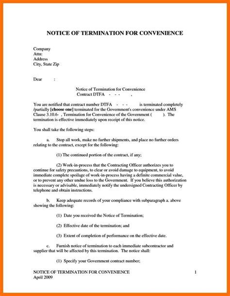Notice Of Termination Of Contract Template Sletemplatess Sletemplatess Notice Of Contract Termination Letter Template