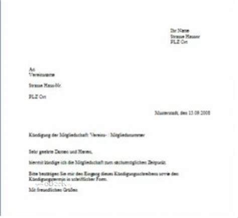 Offizieller Briefvorlage Briefvorlage Zur K 252 Ndigung Einer Mitgliedschaft Im Verein O 228