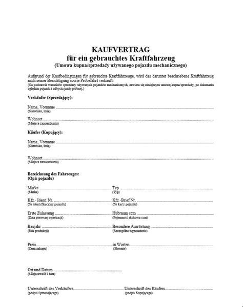 Kaufvertrag Auto Privat Ohne Garantie Muster by Samoch 243 D Z Niemiec Potrzebne Dokumenty Umowa Zawierana