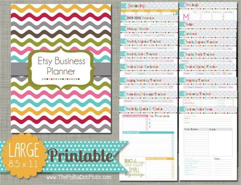 etsy free printable planner large printable etsy business planner set sized 8 5 quot x