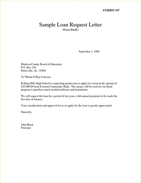 Sle Letter For Loan Request To Application Letter Sle For Loan