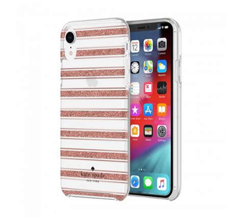 kate spade bold stripe for iphone xr gold