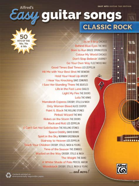 alfred publishing alfreds easy guitar songs classic rock