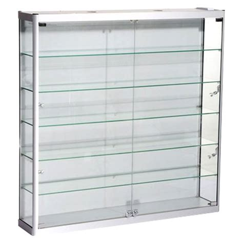 Fluorescent Light Glasses by Wall Mounted Display Cabinets Aluminum Profile Tempered