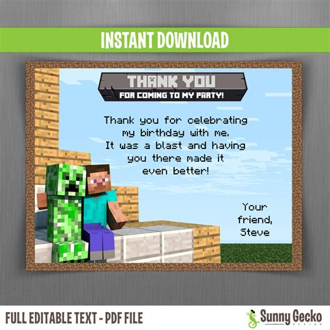 minecraft printable thank you cards minecraft birthday thank you cards instant download and