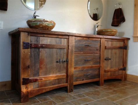 reclaimed wood bathroom cabinets reclaimed wood vanity rustic bath cabinetry log cabin