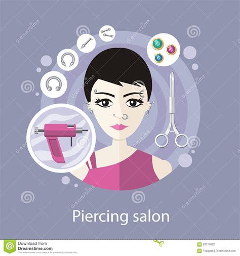 platting styles salon conception plate de style de salon piercing illustration
