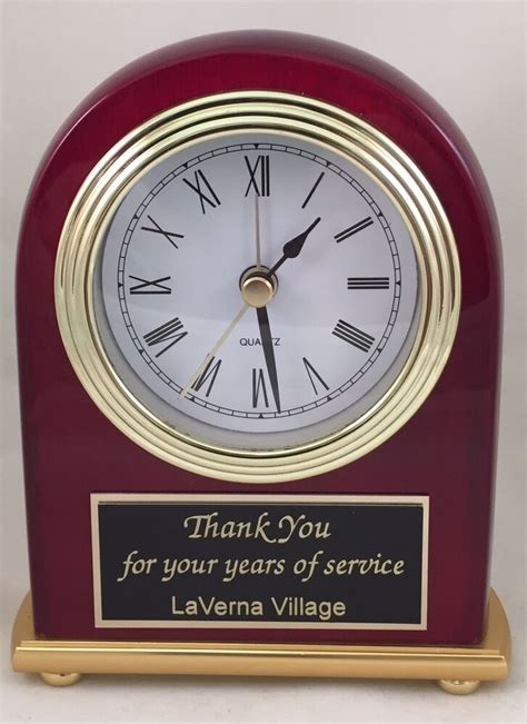 personalized desk clock with alarm rosewood piano finish engraved free ebay