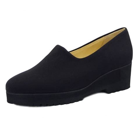 comfortable footwear peter kaiser aix ladies black stretch wide fit