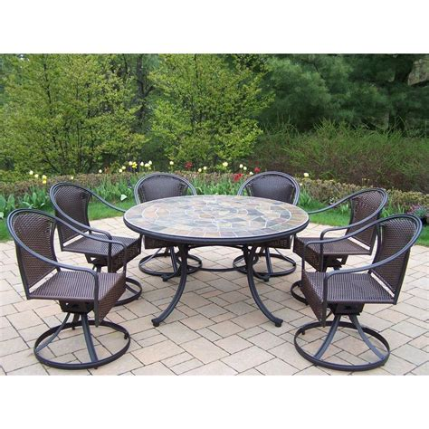 Oakland Living Tuscany Stone Art 54 In 7 Piece Patio Patio Furniture 7 Dining Set