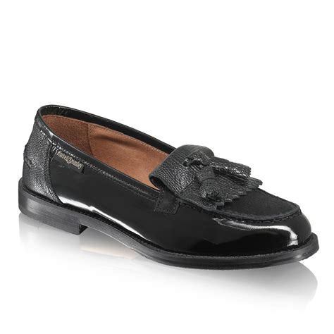 russel and bromley loafers chester tassel loafer in black leather suede