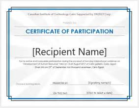 Template For Certificate Of Participation In Workshop by Certificate Of Participation Templates For Ms Word