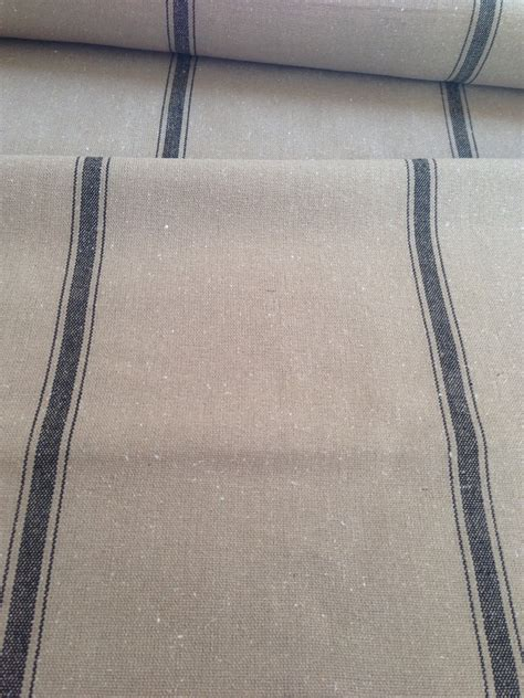 grain sack upholstery fabric grain sack fabric sold by the yard black stripe on dark tan