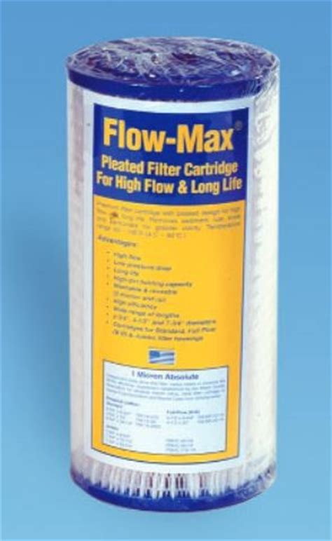 Pleated Absolute Filter 10 0 22 0 45micron flow max 4 5 dia x 9 75 inch pleated sediment