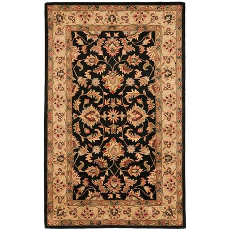 Black And Gold Bathroom Rugs Safavieh Heritage Black Gold 3 Ft X 5 Ft Area Rug Hg957a 3 The Home Depot