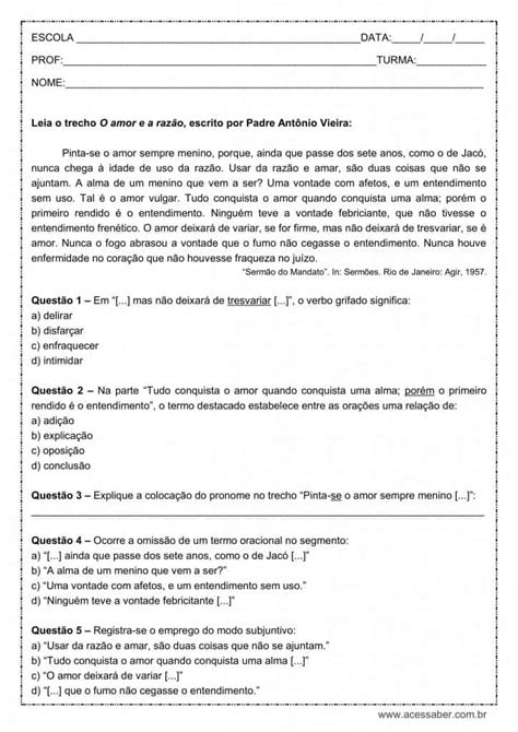 Atividade de português: Modo subjuntivo - 2º ano do ensino