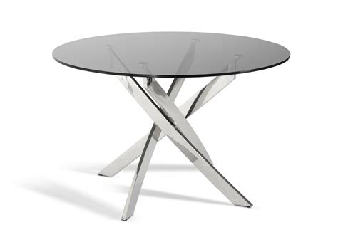 modrest t07 modern smoked glass circular dining table