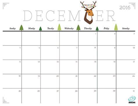 printable december calendar imom cute and crafty 2016 printable calendar