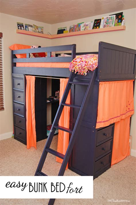 Turn A Bunk Bed Into A Loft Bed Who Knew That This Annoying Space Could Turn Into Such A Bunk Bed Fort Bunk Bed Fort