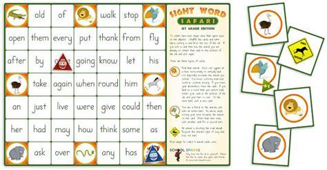 printable board games first grade sight word safari board game