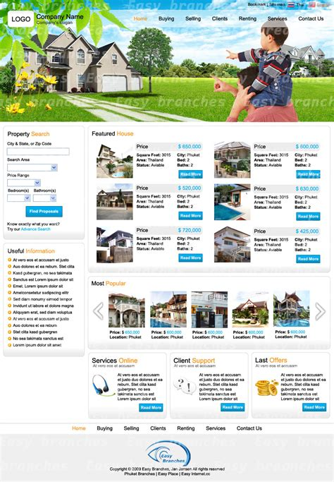 pages templates for real estate website templates design in phuket thailand