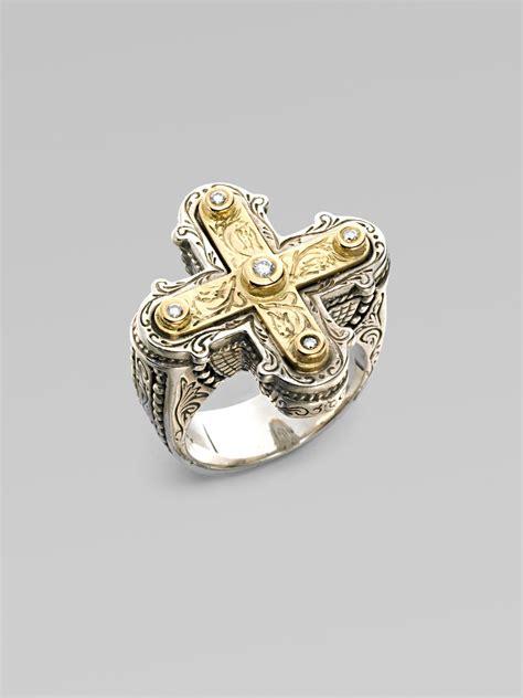 konstantino sterling silver 18k gold cross ring