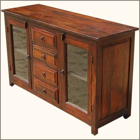 rustic glass door buffet 4 door solid wood sideboard