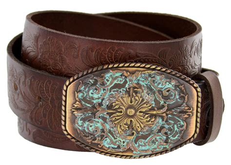 new orleans western tooled grain leather belt