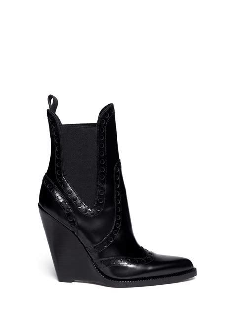 wang nadja wingtip leather chelsea wedge boots