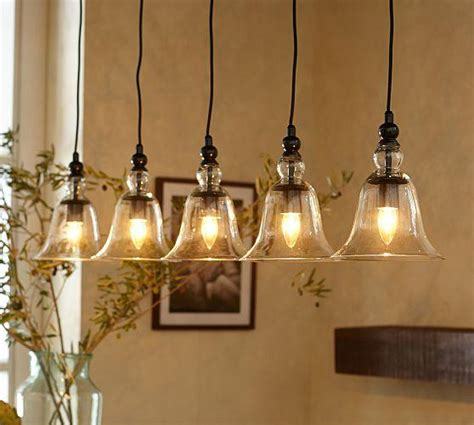 Pottery Barn Kitchen Lighting Rustic Glass 5 Light Pendant Pottery Barn