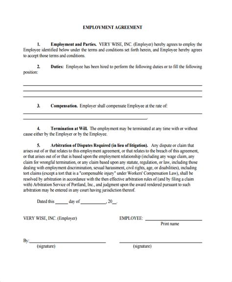 arbitration template sle employment arbitration agreement 8 free
