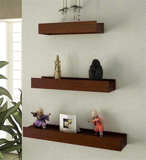 mango wood wall shelves set of 3 by home sparkle