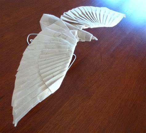 Origami Eagle - bird setting the crease
